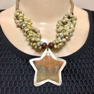 Abalone Mongbean  Necklace
